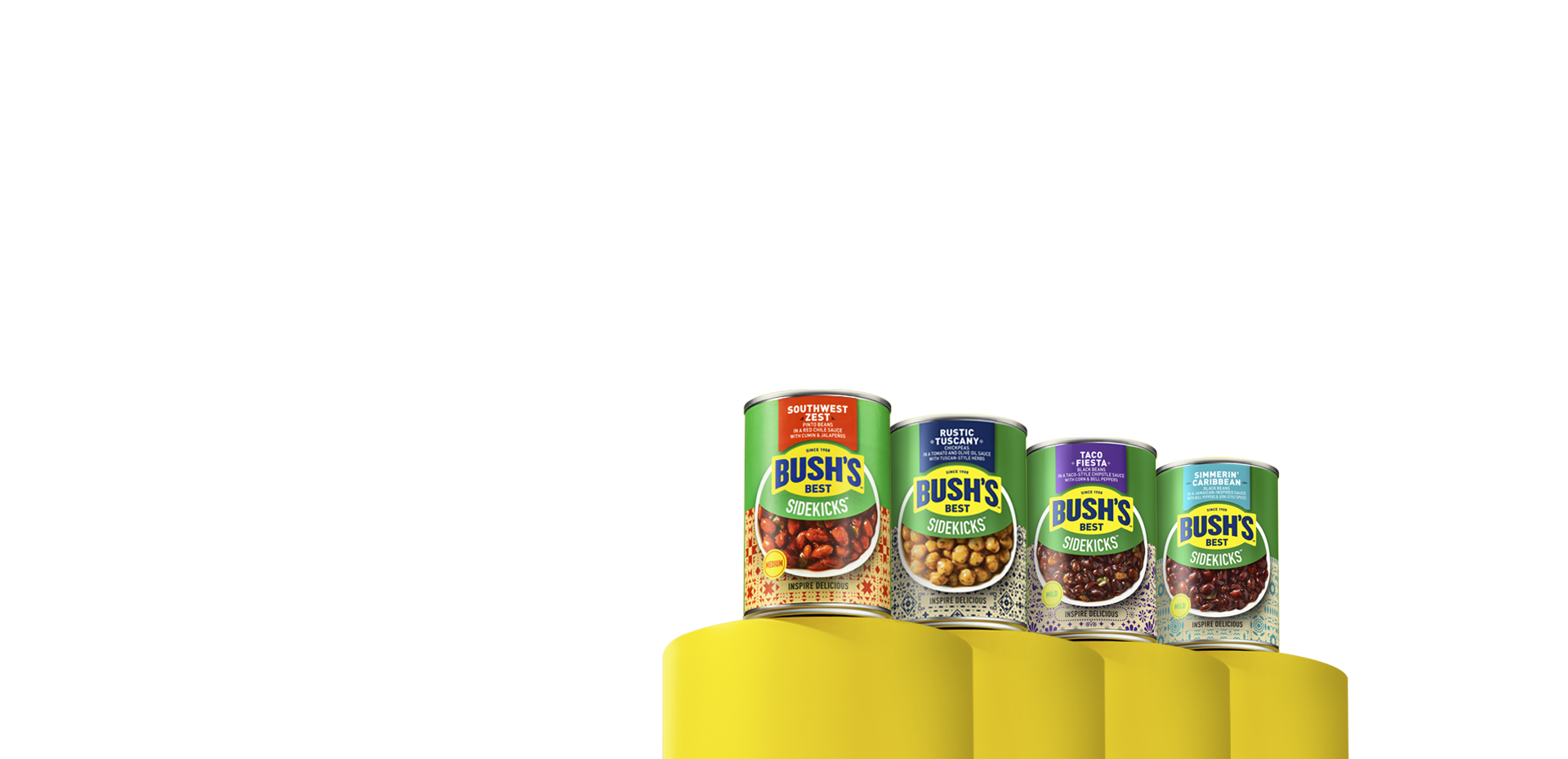 A can of Bush's Best Sidekicks Southwestern Zest Pinto beans sitting on a yellow column
