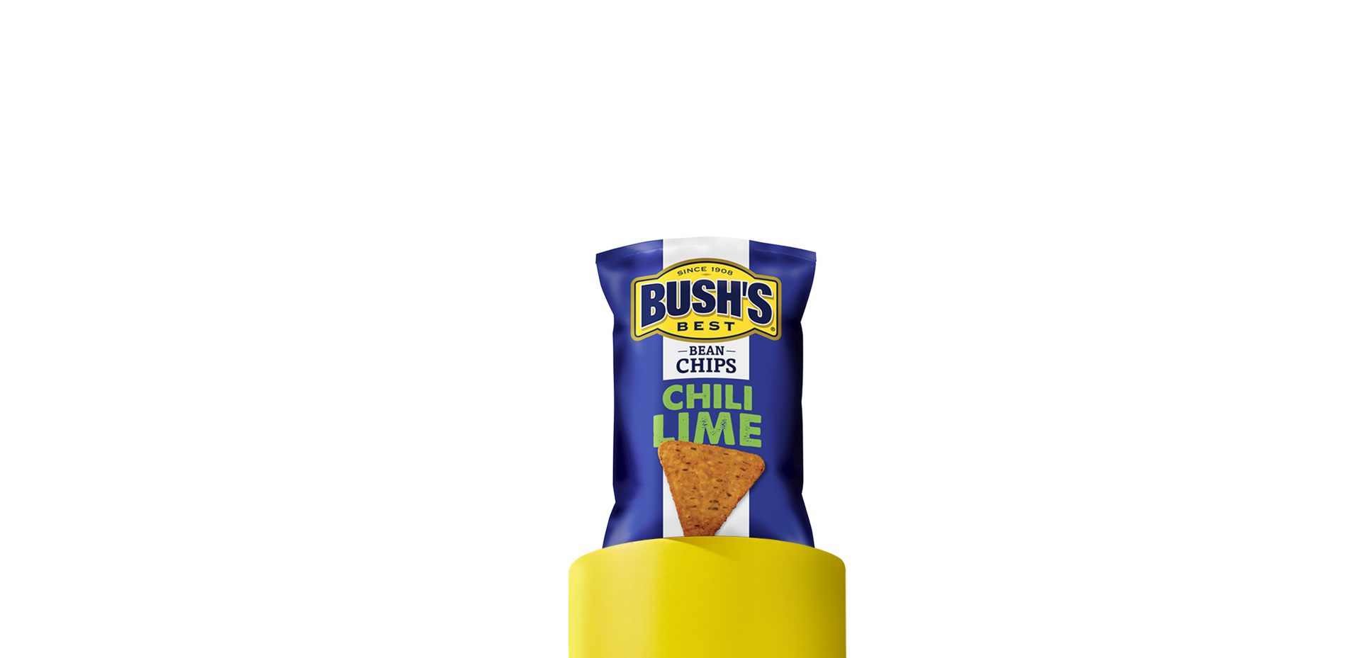 A blue and white bag of Bush's Best Chili Lime Bean Chips sitting on a yellow column